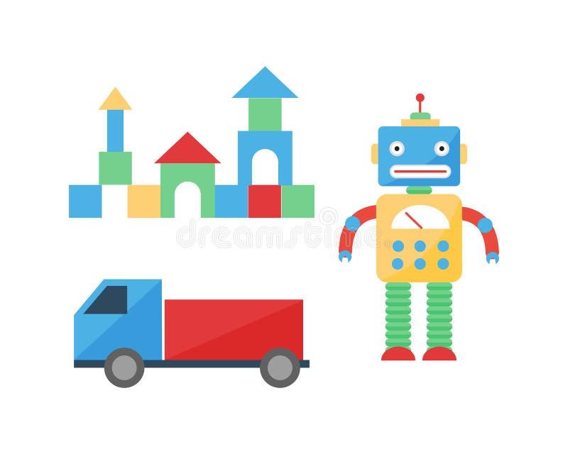 婴孩戏弄室装饰儿童不同的游戏室样式逗人喜爱的立方体愉快的装饰汽车传染媒介 向量例证
