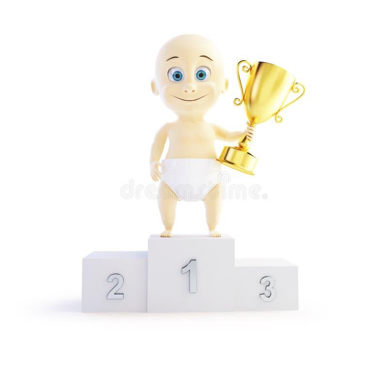 婴孩战利品杯子3d例证 向量例证