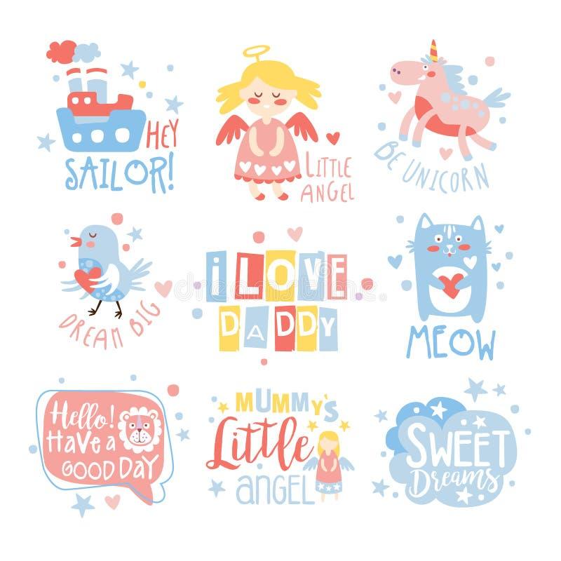 婴孩托儿所室印刷品以与正文消息的逗人喜爱的娘儿们方式设置的设计模板 皇族释放例证