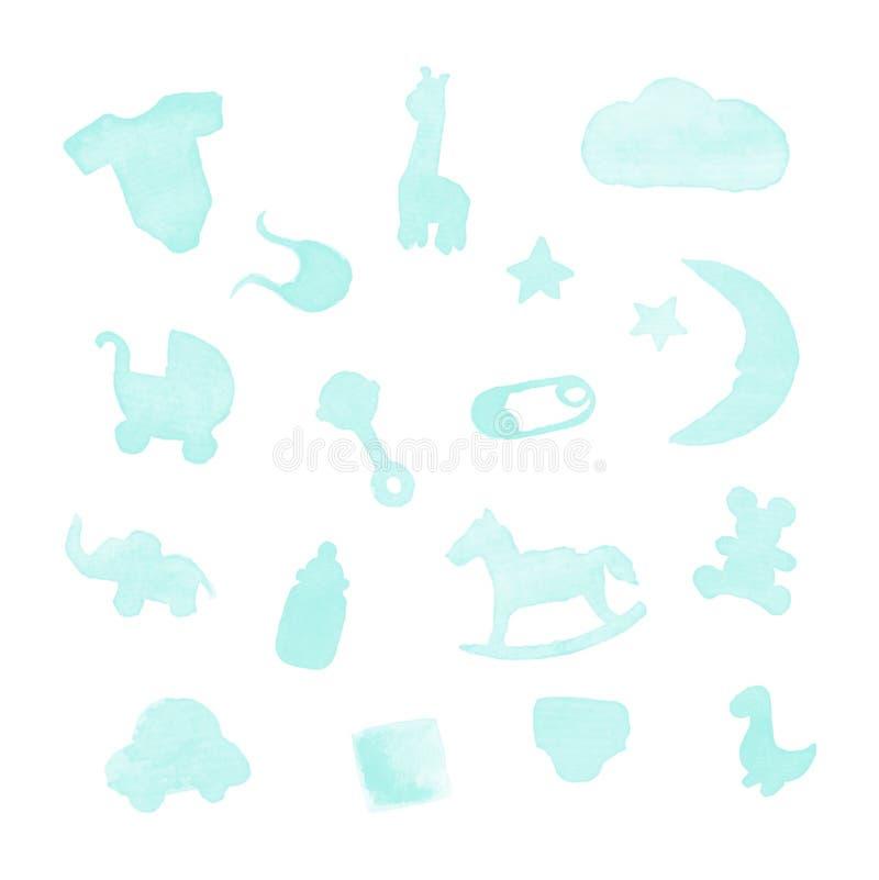 婴孩材料水彩设计元素 库存照片