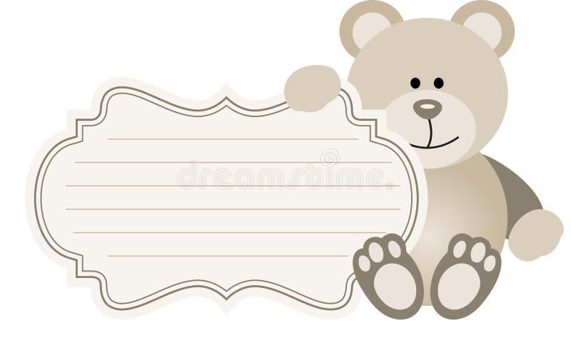 婴孩标签玩具熊 库存例证