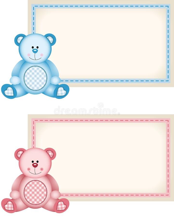 婴孩玩具熊桃红色和蓝色标记标签 向量例证