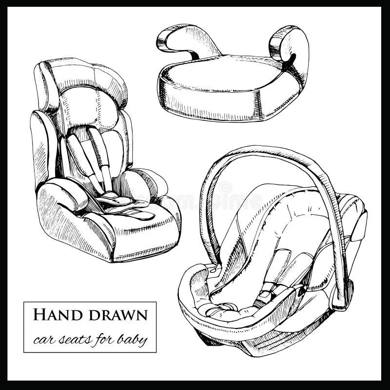婴孩的汽车座位白色背景的 皇族释放例证