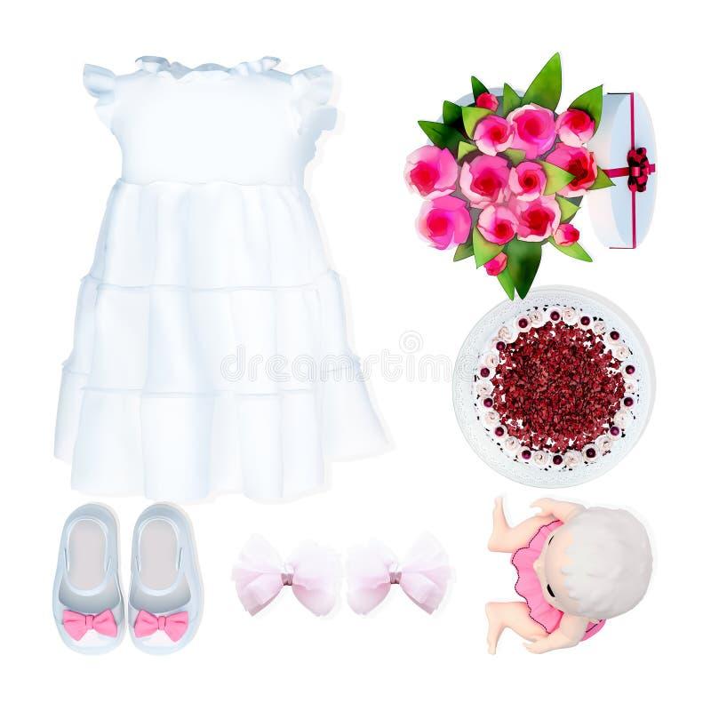婴孩礼服和辅助部件在白色背景 生日 免版税库存照片