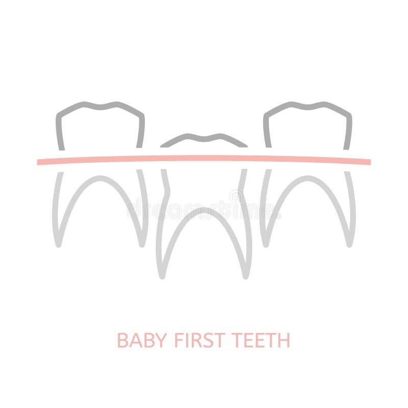 婴孩第一颗牙 向量例证