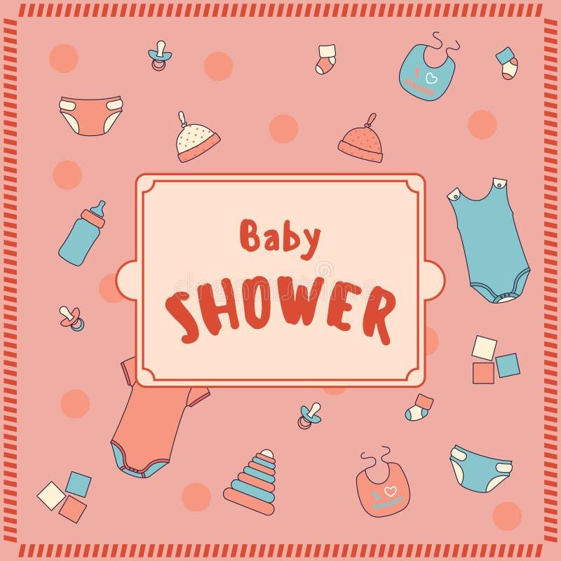婴孩背景兔宝宝看板卡逗人喜爱的花卉阵雨文本 向量例证