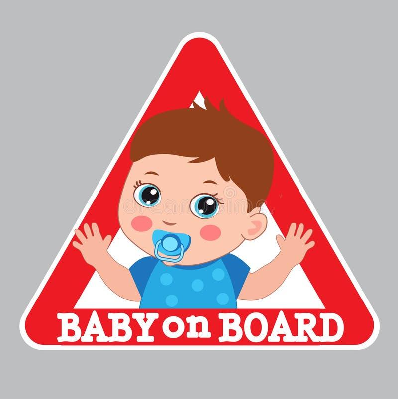 婴孩董事会符号 汽车警报信号 男孩在船上颜色贴纸 皇族释放例证