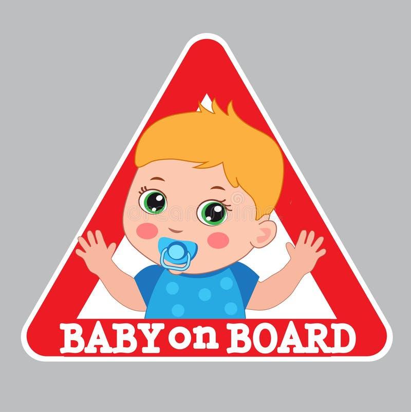 婴孩董事会符号 汽车警报信号 男孩在船上颜色贴纸 向量例证