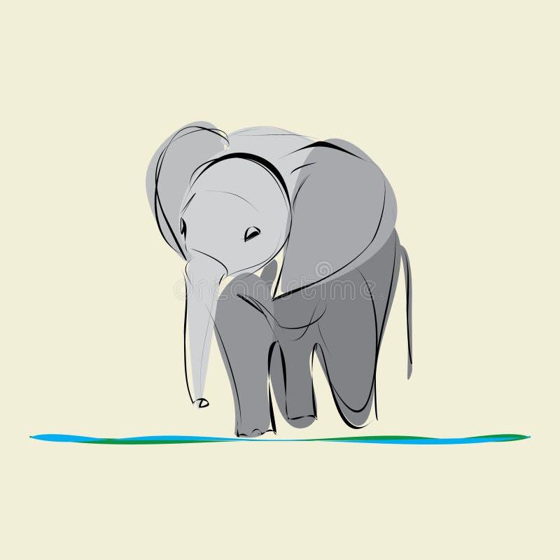 2009年婴孩被采取的大象照片 库存例证