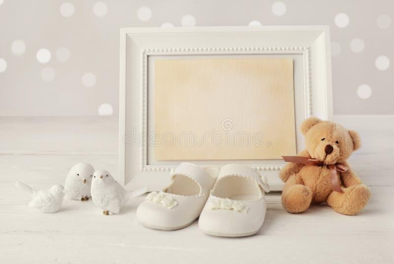婴孩诞生框架背景 库存图片
