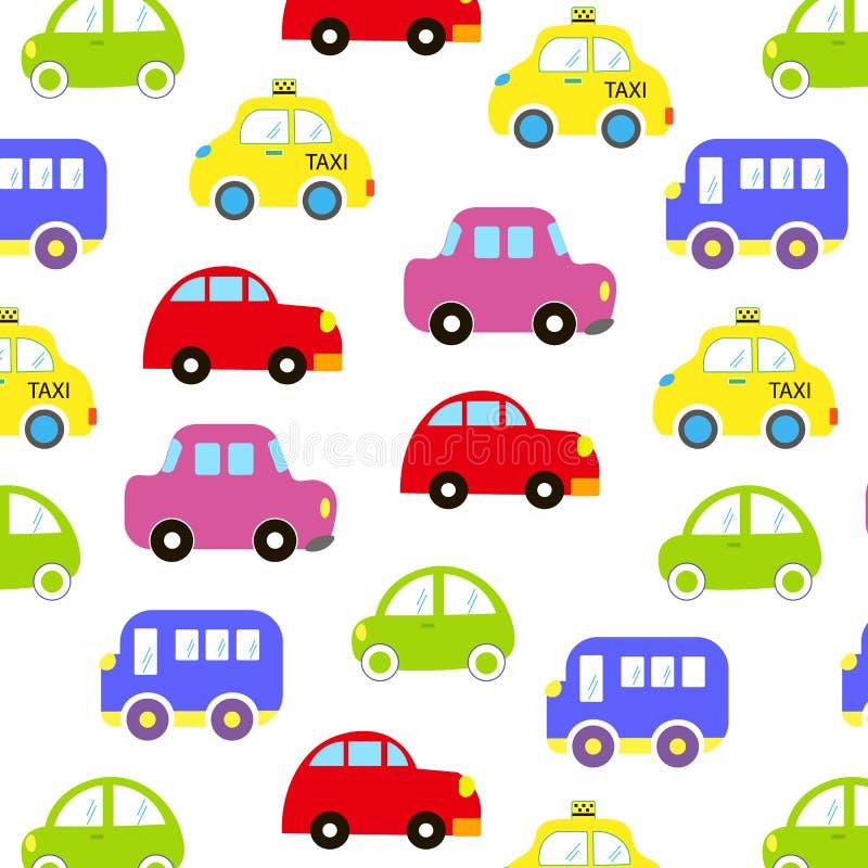 婴孩车样式设计 手拉的滑稽的五颜六色的动画片汽车无缝的样式 男婴的墙纸 运输剪影 向量例证