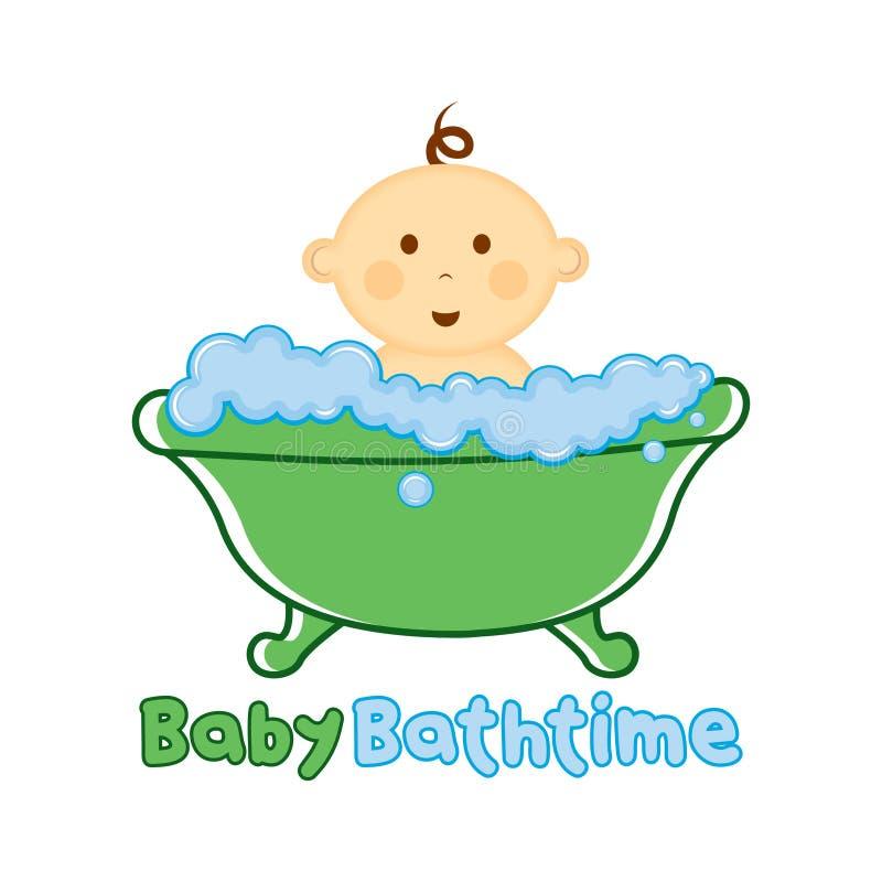 婴孩巴恩时间商标模板,沐浴商标,婴儿送礼会的婴孩 向量例证