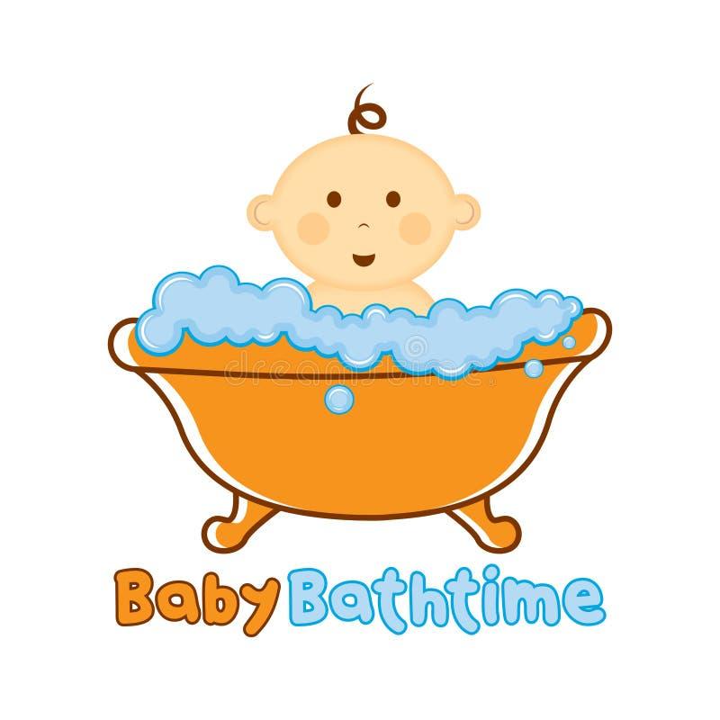婴孩巴恩时间商标模板,沐浴商标,婴儿送礼会的婴孩 皇族释放例证