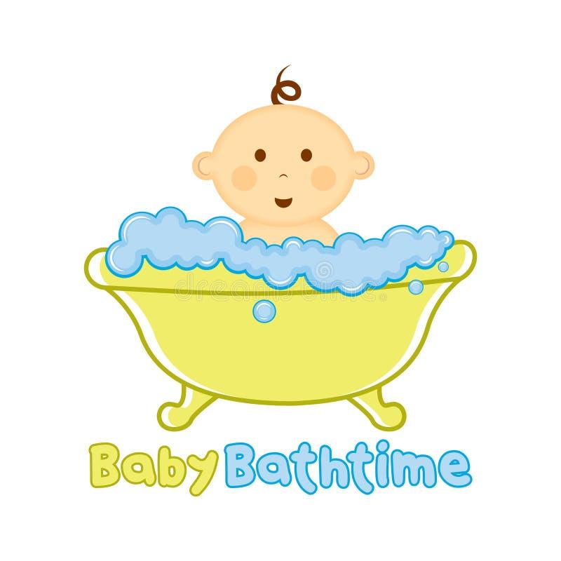 婴孩巴恩时间商标模板,沐浴商标,婴儿送礼会的婴孩 库存例证
