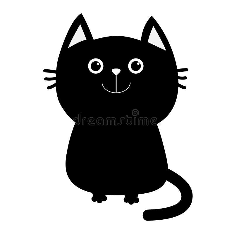 婴孩黑色动画片猫图标例证宠物 逗人喜爱的滑稽的动画片微笑的字符 Kawaii动物 大尾巴,颊须,眼睛 愉快的情感 全部赌注小猫小宠物 向量例证