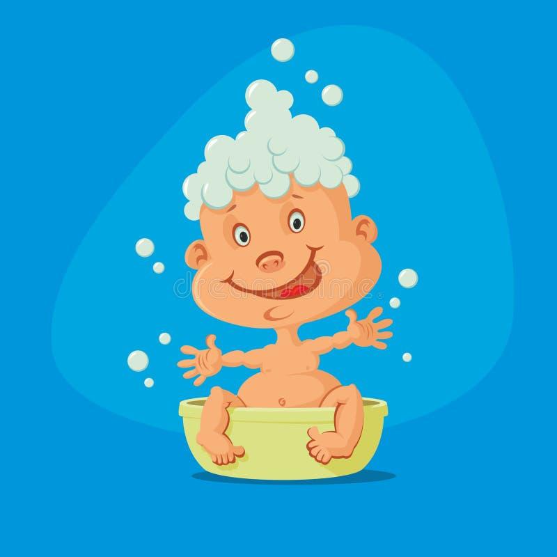 婴孩浴采取 皇族释放例证