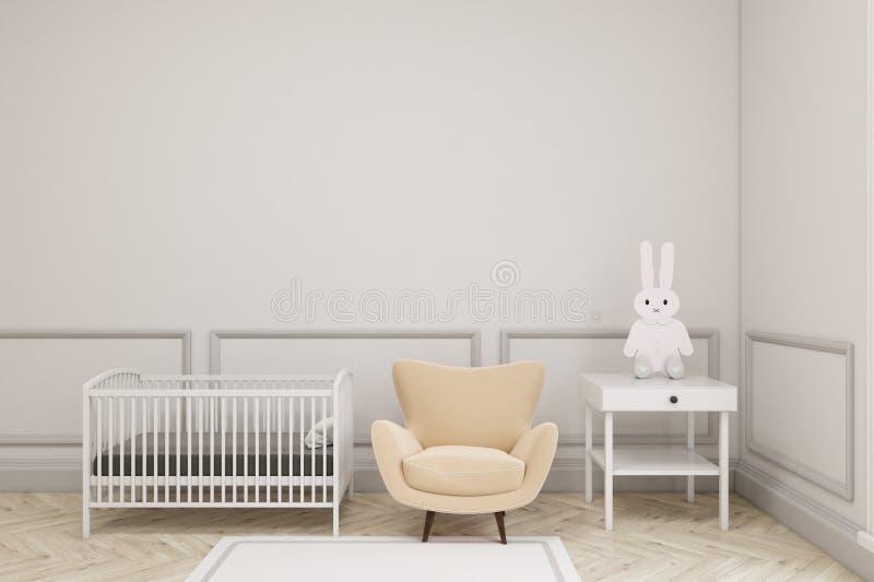 婴孩` s与玩具兔宝宝的室内部 皇族释放例证