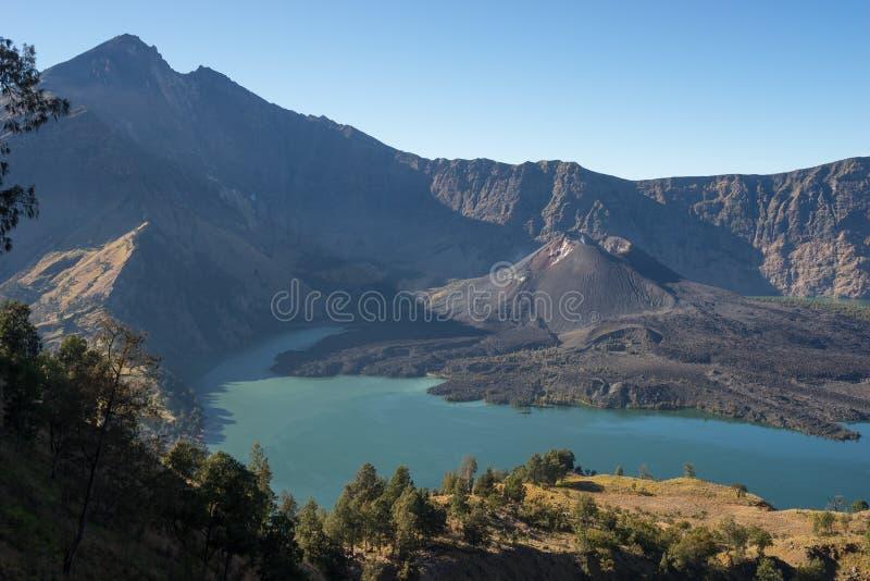 婴孩Rinjani火山山风景 图库摄影