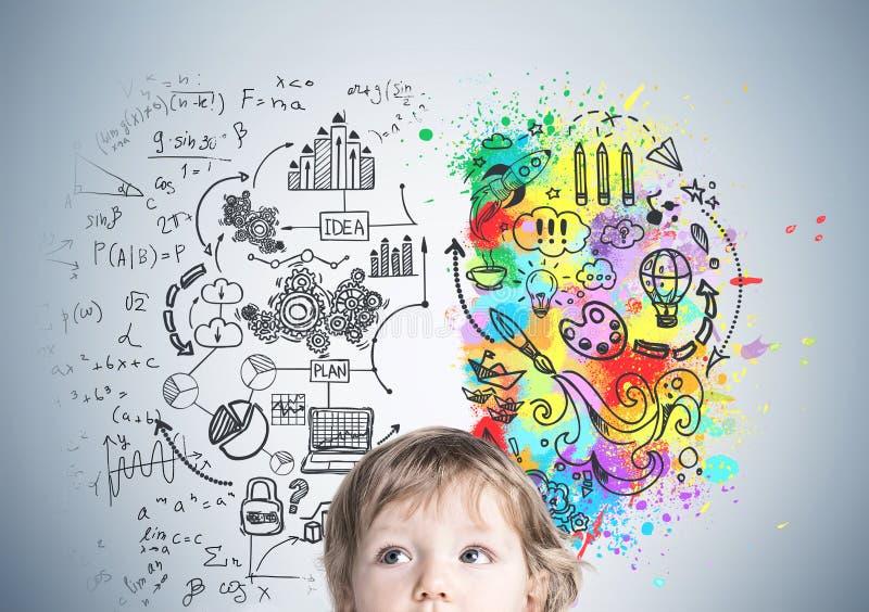 婴孩s头关闭和创造性的想法 向量例证