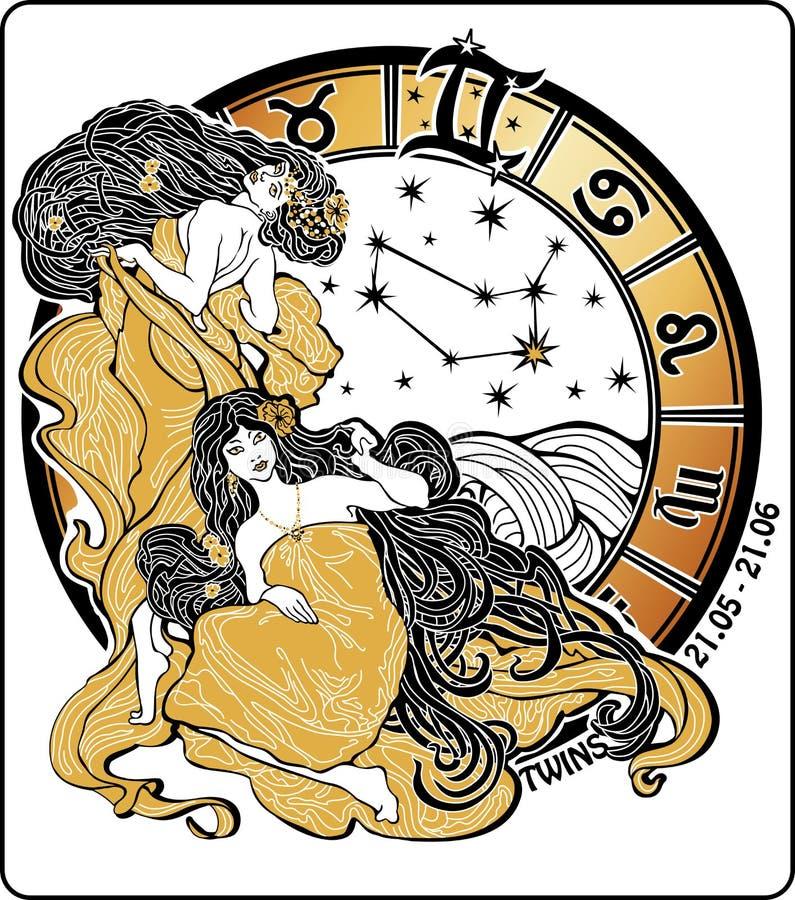 孪生女孩和黄道带标志。占星圈子。Il 向量例证