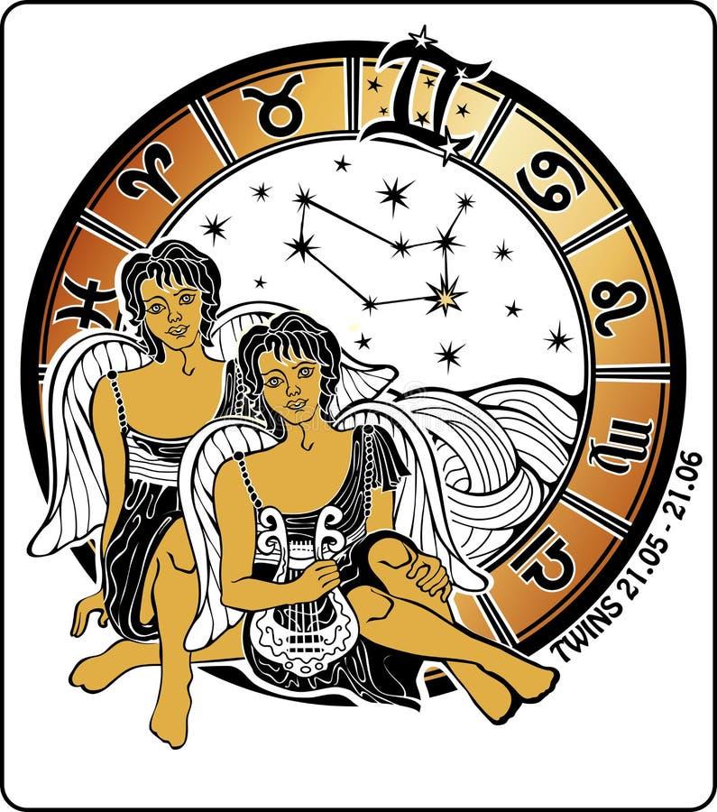 孪生男孩和黄道带标志。占星圈子。我 皇族释放例证