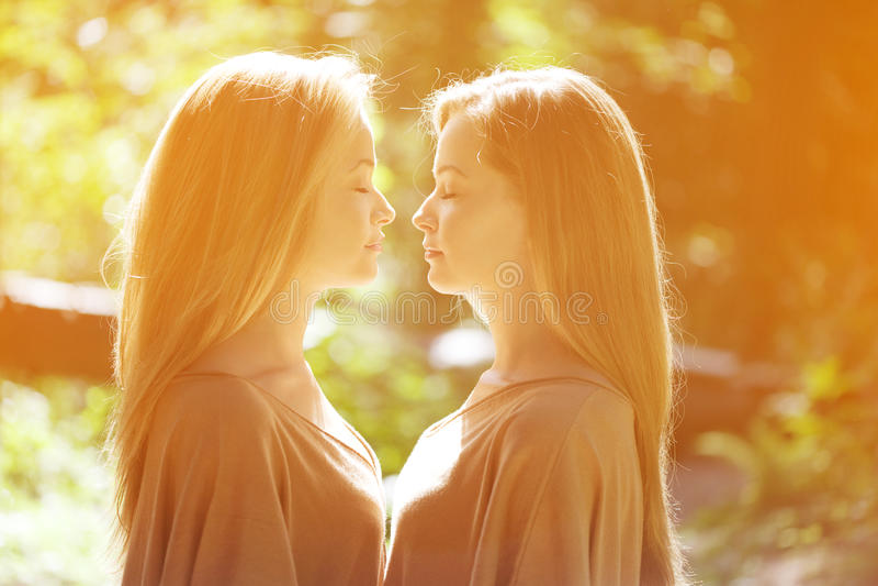 孪生 一个小组年轻美丽的女孩 两名妇女面孔特写镜头 库存照片
