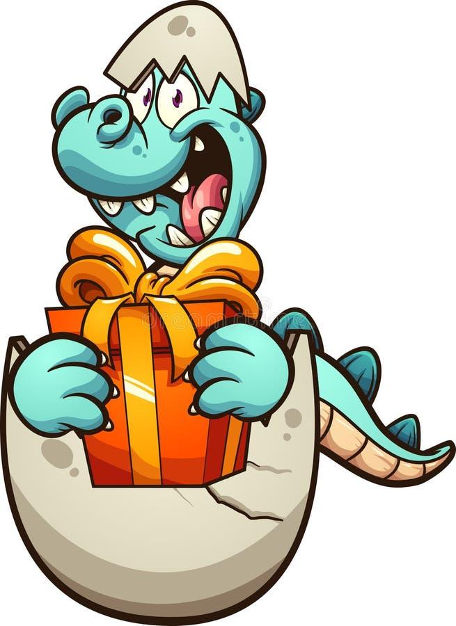 孵化从鸡蛋和拿着礼物的动画片恐龙 皇族释放例证