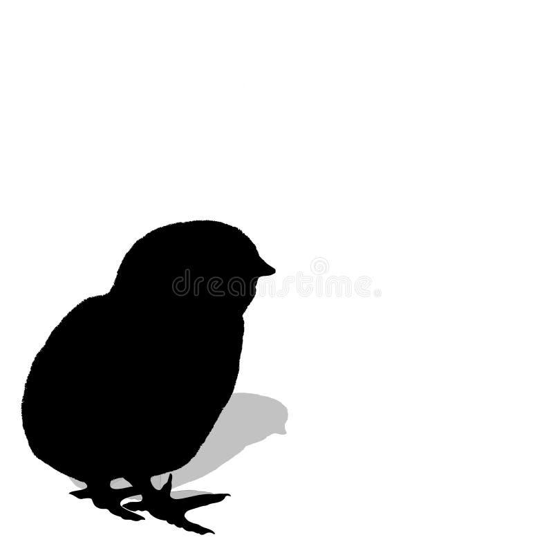 孵化剪影的鸡 向量例证