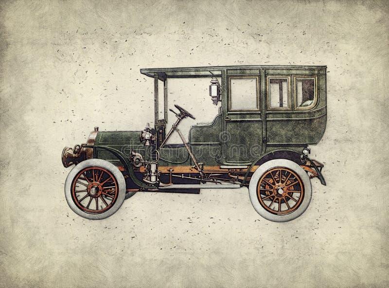 孵化手图画的葡萄酒减速火箭的汽车 绿色古色古香的汽车 库存例证