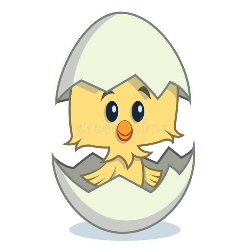 孵化从鸡蛋的逗人喜爱的动画片小鸡 皇族释放例证