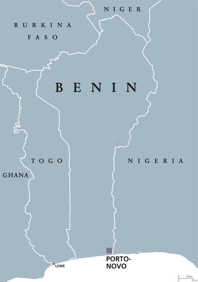 贝宁政治地图 皇族释放例证