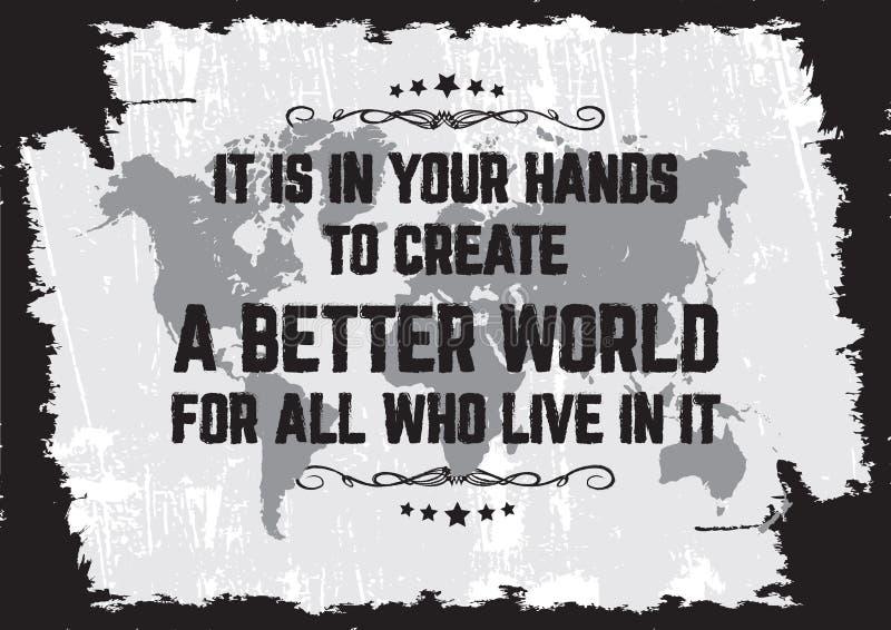 它是在您的手钛creat一个更好的世界 库存例证