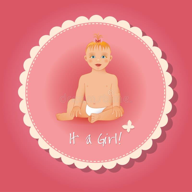 它是女孩卡片或背景 库存例证