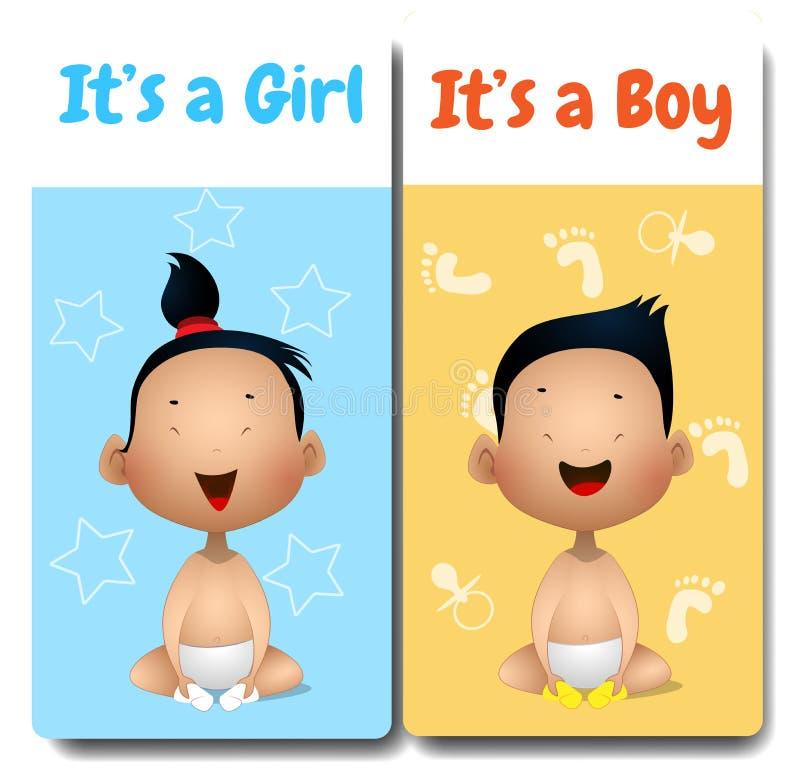 它男孩和它的女孩卡片 向量例证