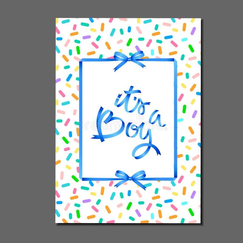它男孩 在上写字在生日蛋糕洒样式 丝带和弓 贺卡、邀请、海报、标签,贴纸等 向量例证