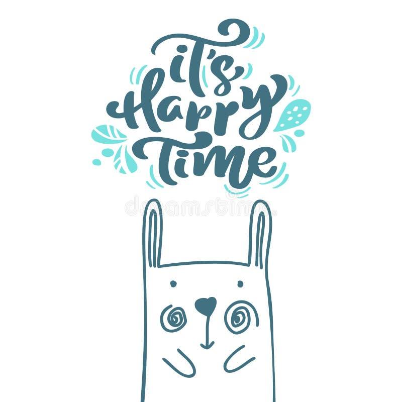它的在斯堪的纳维亚文本上写字的幸福时光书法 Xmas与兔子的手拉的传染媒介例证的贺卡 皇族释放例证