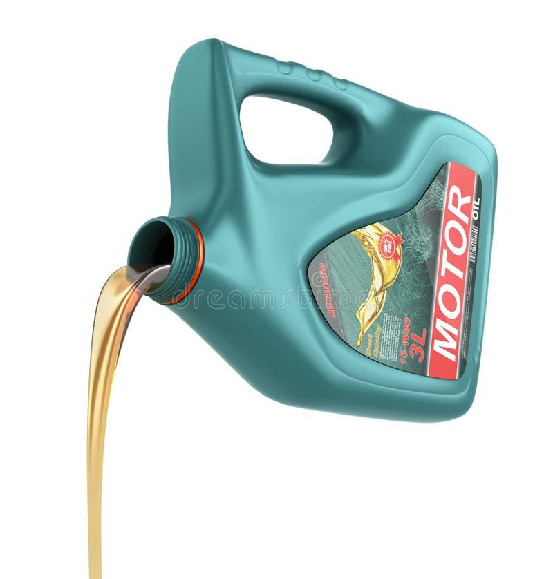 从它的塑胶容器的倾吐的机器润滑油 库存例证
