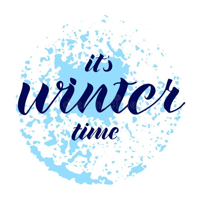 它` s冬时 在上写字的手 抽象蓝色纹理 向量例证