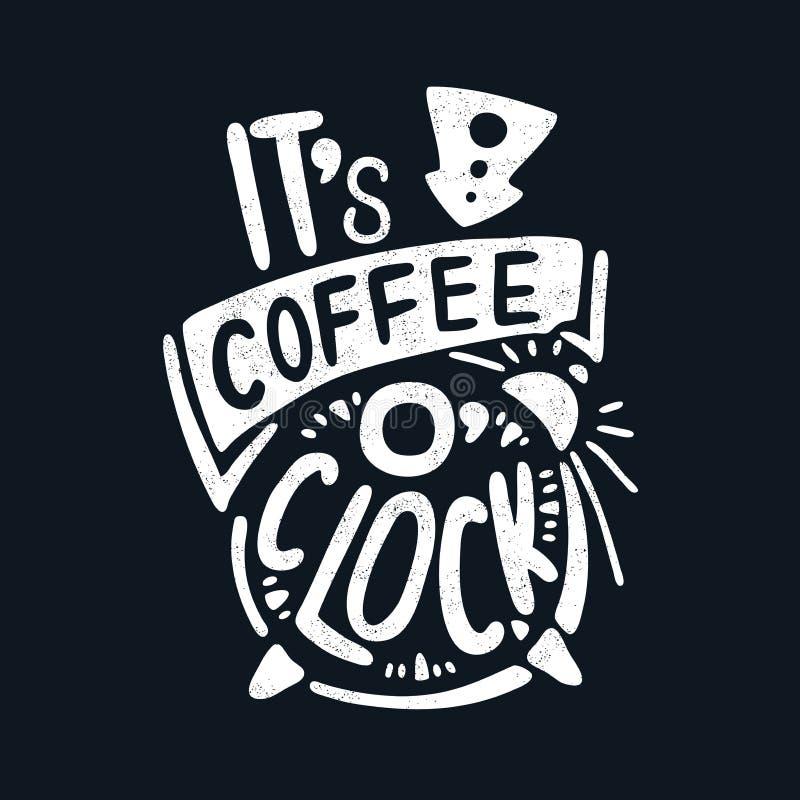 它` s咖啡o `时钟 装饰信函 穿戴女孩褂子早晨白色的咖啡杯 背景中断咖啡新月形面包杯子甜点 报价 皇族释放例证