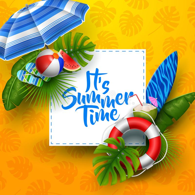 它` s夏时与白方块的横幅设计文本和海滩元素的 皇族释放例证