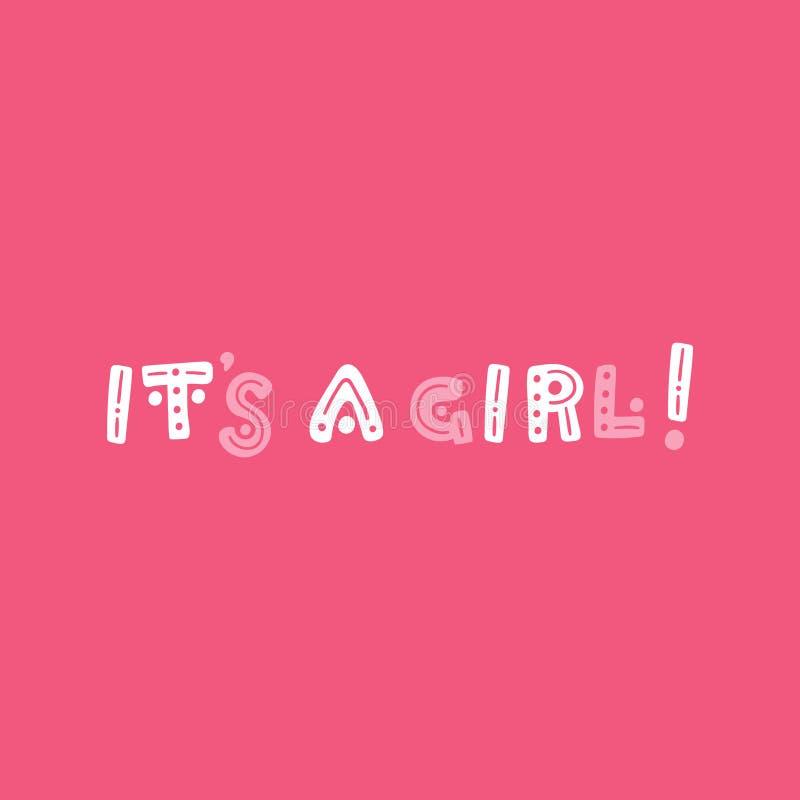 它` s女孩!手拉的五颜六色的传染媒介诞生字法 桃红色,白色和灰色问候设计 向量例证