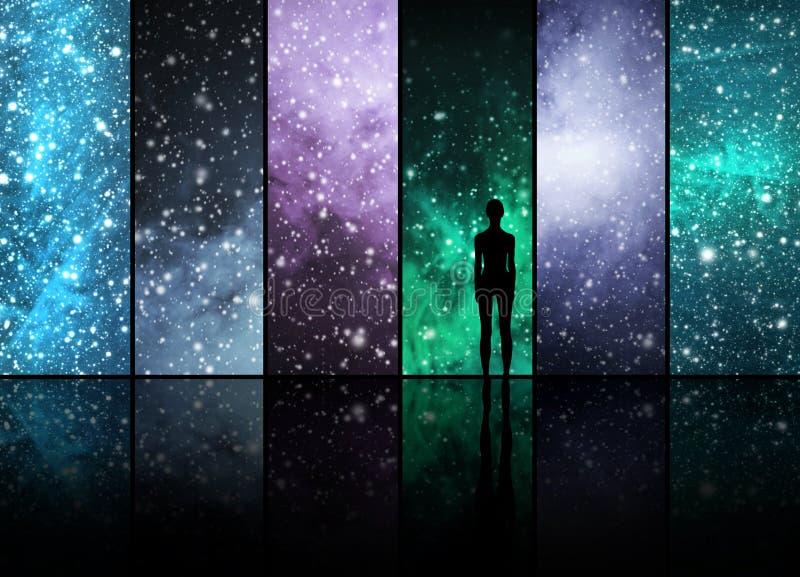 宇宙、星、星座、行星和人 库存图片