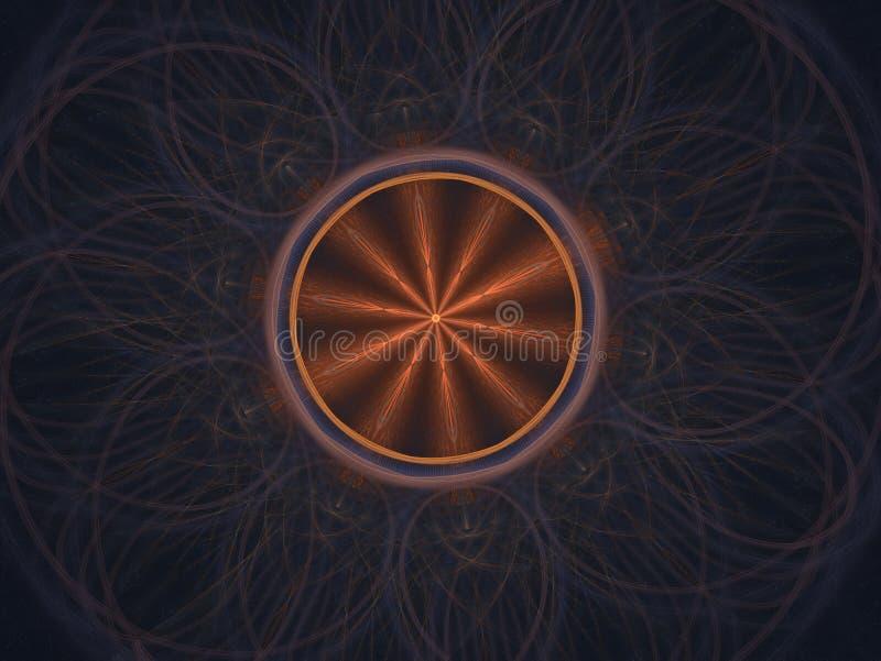 宇宙几何 在空间的轻的现象 闪光和闪电在疲倦天空中 抽象分数维坛场例证 ?treadled 库存例证