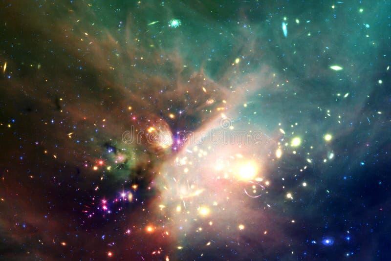 宇宙填装了星、星云和星系 宇宙艺术,科幻墙纸 免版税库存照片