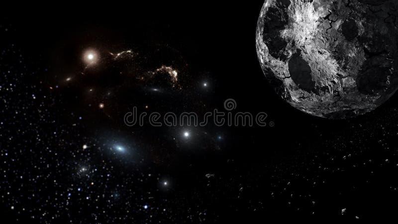 宇宙所有现有的问题和空间考虑了整体上波斯菊 库存例证