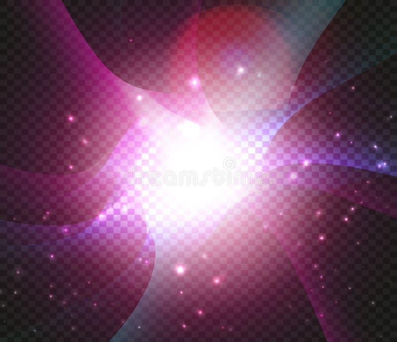 宇宙星云背景 不可思议的星系背景 明亮的在黑背景的幻想紫色空间与星 大的轰隆 皇族释放例证