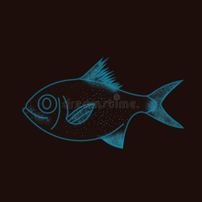宇宙星座鱼-与噪声的概念性传染媒介例证 向量例证