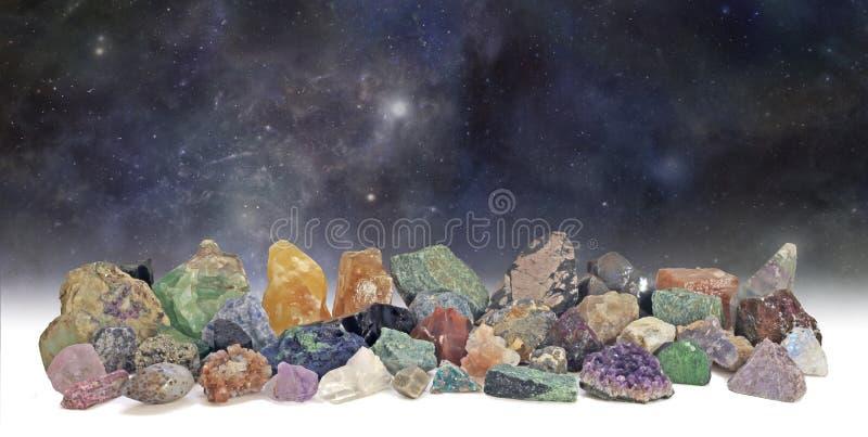 宇宙水晶收藏宽背景 免版税库存图片