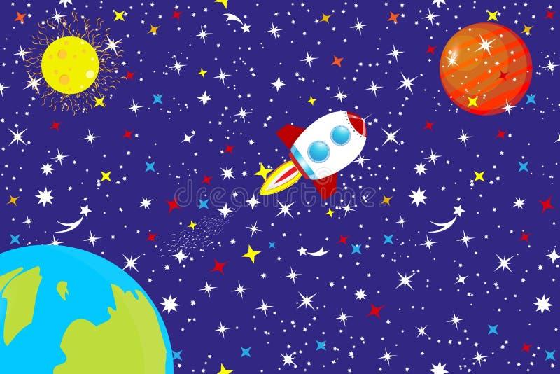 宇宙的满天星斗的天空 在空间的一艘太空飞船在星、行星地球和星中飞行到火星 抽象背景co 皇族释放例证