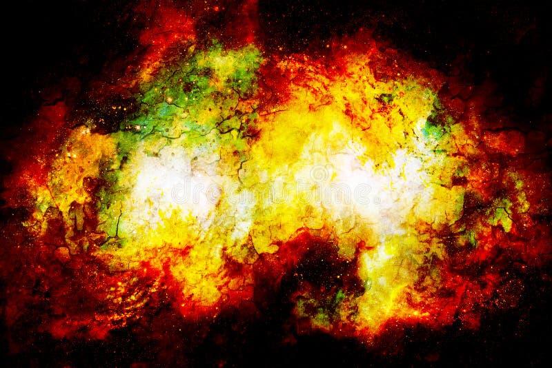 宇宙空间和星,上色宇宙抽象背景 火和爆裂声作用 库存照片